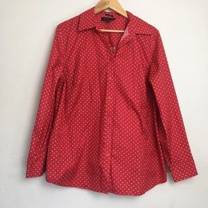 3/$10 Jones New York Red Polka Dotted Button Up
